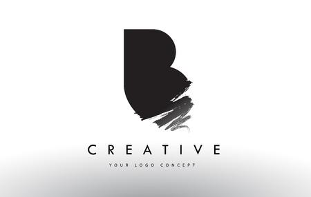 B Brushed Letter Logo. Black Brush Letters design with Artistic Brush stroke design.