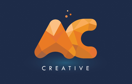 ac: AC Letter With Origami Triangles Logo. Creative Yellow Orange Origami Design Letters. Illustration