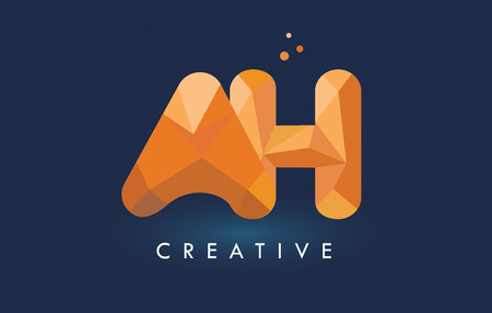 AH Letter With Origami Triangles Logo. Creative Yellow Orange Origami Design Letters. Illustration