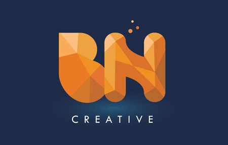 BN Letter With Origami Triangles Logo. Creative Yellow Orange Origami Design Letters. Logó