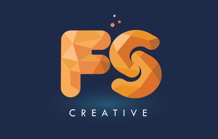 FS Letter With Origami Triangles Logo. Creative Yellow Orange Origami Design Letters.