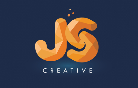 JS Letter With Origami Triangles Logo. Creative Yellow Orange Origami Design Letters.