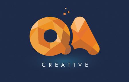 QA Letter With Origami Triangles Logo. Cartas creativas de diseño de origami naranja amarillo.