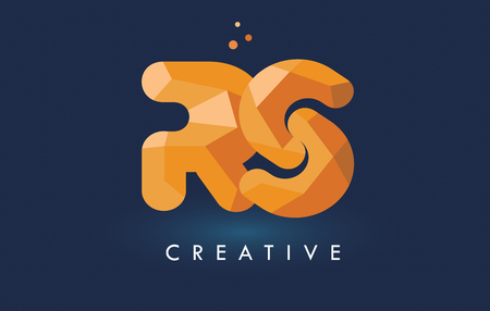 RS Letter With Origami Triangles Logo. Creative Yellow Orange Origami Design Letters.