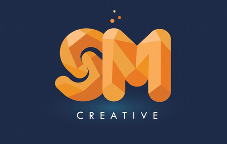 SM Letter With Origami Triangles Logo. Creative Yellow Orange Origami Design Letters.