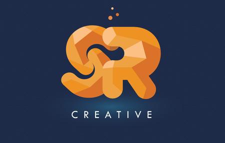 SR Letter With Origami Triangles Logo. Creative Yellow Orange Origami Design Letters. Illustration