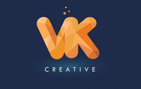 VK Letter With Origami Triangles Logo. Creative Yellow Orange Origami Design Letters.