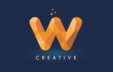 W Letter With Origami Triangles Logo. Creative Yellow Orange Origami Design Letters. Ilustrace