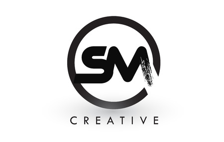 SM Brush Letter Logo Design with Black Circle. Creative Brushed Letters Icon Logo. Ilustrace