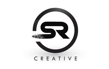 SR Brush Letter Logo Design with Black Circle. Creative Brushed Letters Icon Logo. Ilustrace