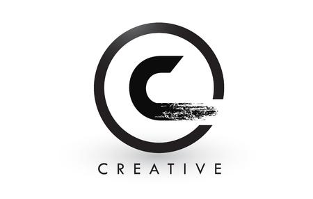 C Brush Letter Logo Design with Black Circle. Creative Brushed Letters Icon Logo.