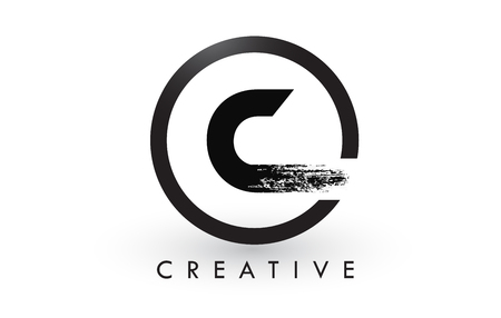 C Brush Letter Logo Design with Black Circle. Creative Brushed Letters Icon Logo.