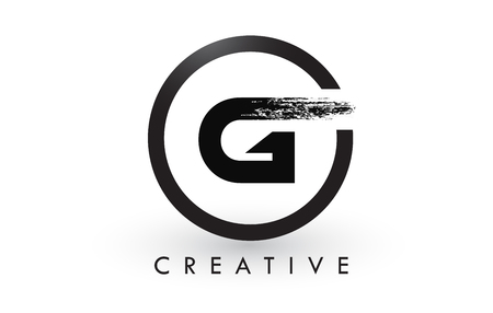 G Brush Letter Logo Design with Black Circle. Creative Brushed Letters Icon Logo. Illusztráció