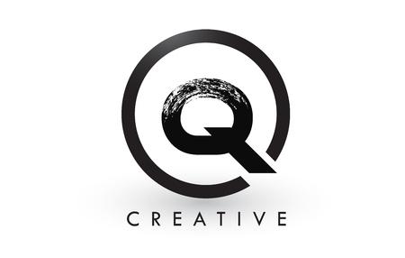 Q Brush Letter Logo Design with Black Circle. Creative Brushed Letters Icon Logo. Ilustrace