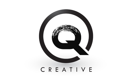 Q Brush Letter Logo Design with Black Circle. Creative Brushed Letters Icon Logo. Illustration