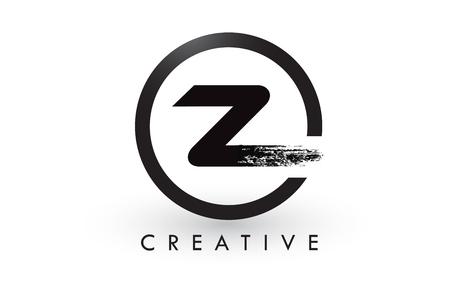 Z Brush Letter Logo Design with Black Circle. Creative Brushed Letters Icon Logo.