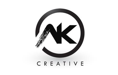 AK Brush Letter Logo Design with Black Circle. Creative Brushed Letters Icon Logo.