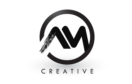 AM Brush Letter Logo Design with Black Circle. Creative Brushed Letters Icon Logo.