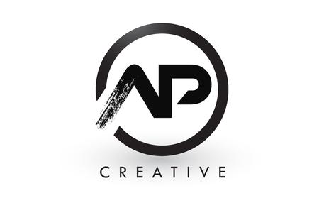 AP Brush Letter Logo Design with Black Circle. Creative Brushed Letters Icon Logo.