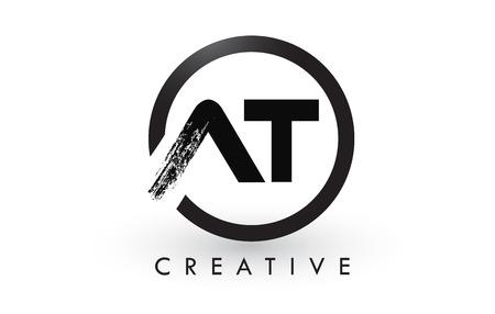 AT Brush Letter Logo Design met zwarte cirkel. Creatief Geborsteld Letters Pictogram Logo.