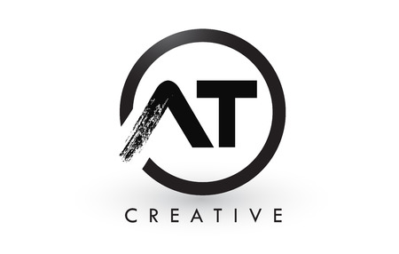 AT Brush Letter Logo Design with Black Circle. Creative Brushed Letters Icon Logo.