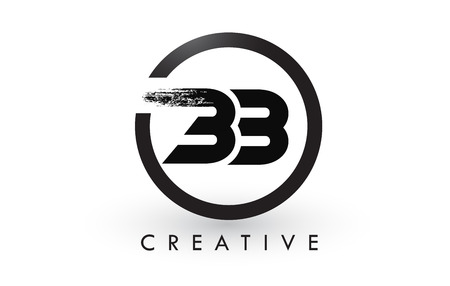 BB Brush Letter Logo Design with Black Circle. Creative Brushed Letters Icon Logo. Ilustrace