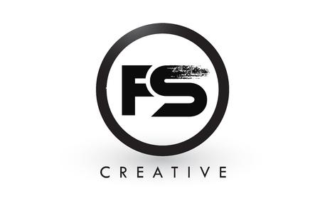 FS Brush Letter Logo Design with Black Circle. Creative Brushed Letters Icon Logo. Ilustração