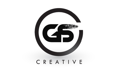 GS Brush Letter Logo Design with Black Circle. Illusztráció