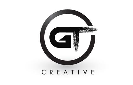 GT Brush Letter emblem Design with Black Circle Illusztráció