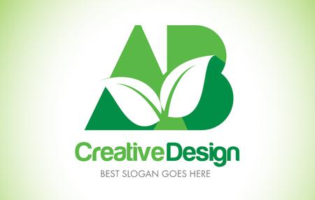 AB Green Leaf Letter Design Logo. Eco Bio Leaf Letters Icon Illustration Vetor Logo.
