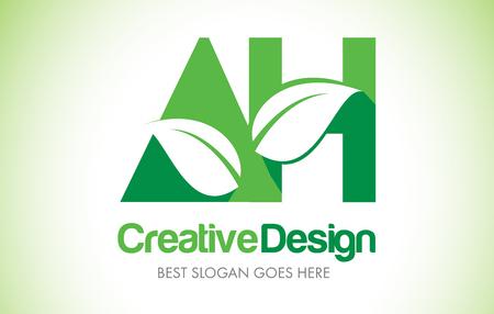 AH Green Leaf Letter Design Logo. Eco Bio Leaf Letters Icon Illustration Vetor Logo. Illustration
