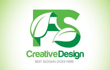 FS Green Leaf Letter Design Logo. Eco Bio Leaf Letters Icon Illustration Vetor Logo. Ilustração