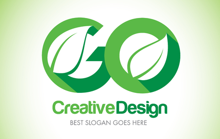 GO Green Leaf Letter Design Logo. Eco Bio Leaf Letters Icon Illustration Vetor Logo.