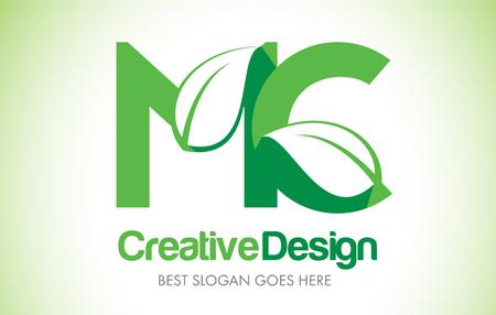 MC Green Leaf Letter Design Logo. Eco Bio Leaf Letters Icon Illustration Vetor Logo.