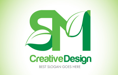 SM Green Leaf Letter Design Logo. Eco Bio Leaf Letters Icon Illustration Vetor Logo.