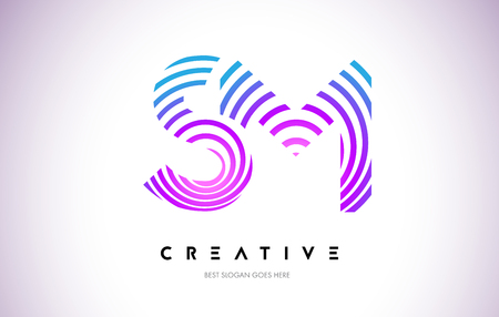SM Lines Warp Logo Design.Vector Letter Icon Made with Purple Circular Lines. Ilustrace