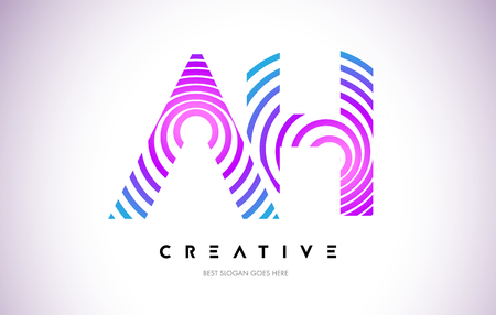 AH Lines Warp Logo Design.Vector Letter Icon Made with Purple Circular Lines. Illustration