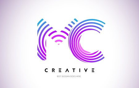 MC Lines Warp Logo Design.Vector Letter Icon Made with Purple Circular Lines. Illustration