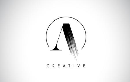 A Brush Stroke Letter Logo Design. Black Paint Logo Leters Icon con diseño elegante del vector del círculo. Logos