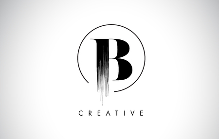 B Brush Stroke Letter Logo Design. Zwarte verf Logo Leters pictogram met elegante cirkel Vector Design. Stock Illustratie