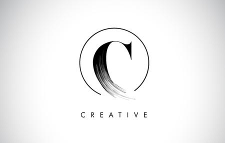 C Brush Stroke Letter Logo Design. Zwarte verf Logo Leters pictogram met elegante cirkel Vector Design. Stock Illustratie