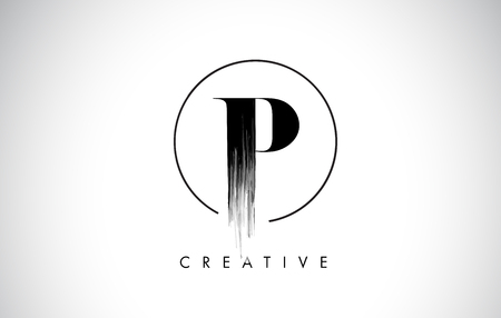 P Brush Stroke Letter Logo Design. Zwarte verf Logo Leters pictogram met elegante cirkel Vector Design.