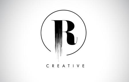 R Brush Stroke Letter Logo Design. Zwarte verf Logo Leters pictogram met elegante cirkel Vector Design.