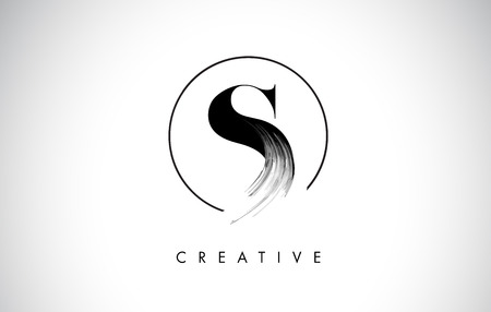 S Brush Stroke Letter Logo Design. Black Paint Logo Leters Icon with Elegant Circle Vector Design. Illustration