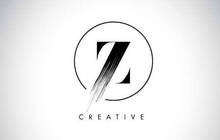 Z Brush Stroke Letter Logo Design. Zwarte verf Logo Leters pictogram met elegante cirkel Vector Design.