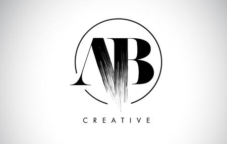 AB Brush Stroke Letter Logo Design. Zwarte verf Logo Leters pictogram met elegante cirkel Vector Design.