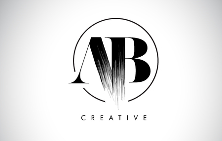 AB Brush Stroke Letter Logo Design. Black Paint Logo Leters Icon with Elegant Circle Vector Design.