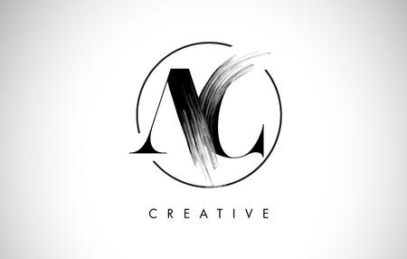 AC Brush Stroke Letter Logo Design. Black Paint Logo Leters Icon with Elegant Circle Vector Design.