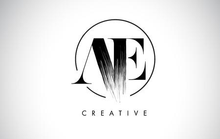 AE Brush Stroke Letter Logo Design. Zwarte verf Logo Leters pictogram met elegante cirkel Vector Design. Logo