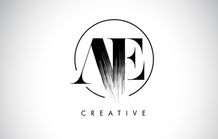 AE Brush Stroke Letter Logo Design. Black Paint Logo Leters Icon with Elegant Circle Vector Design.
